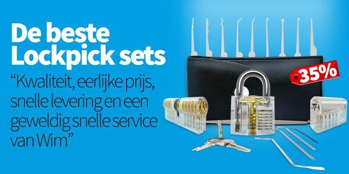 Lockpick actie met drie oefensloten alleen bij Lockpickwebwinkel.nl