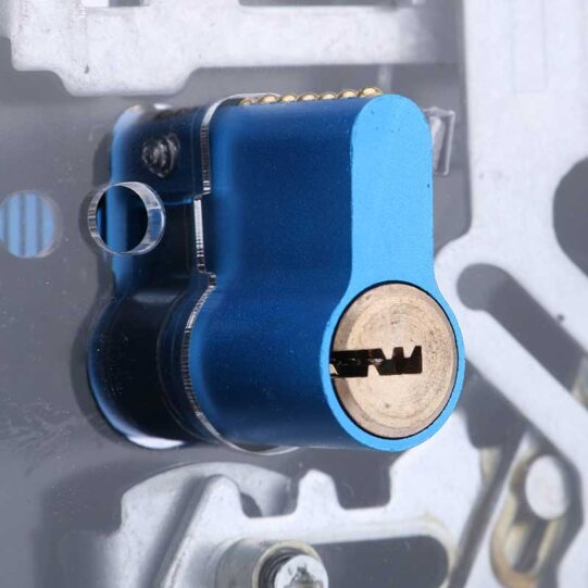 zijwaarts cilinderslot met doorzichtige plaat